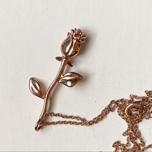 Beauty And The Beast Rose Gold Flower Necklace